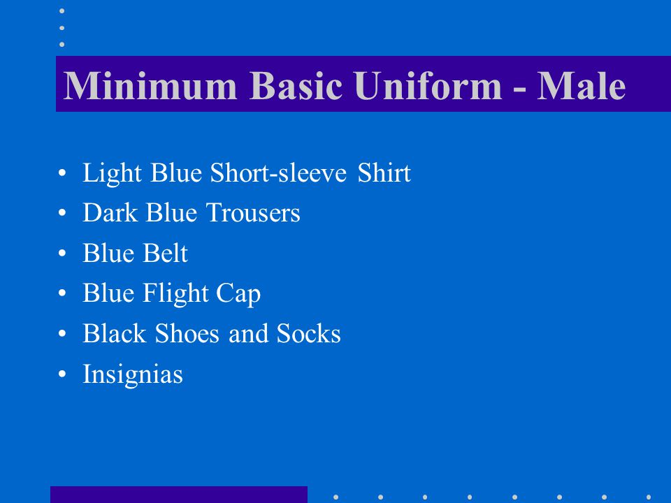 Minimum Basic Uniform - Male Light Blue Short-sleeve Shirt Dark Blue Trousers Blue Belt Blue Flight Cap Black Shoes and Socks Insignias