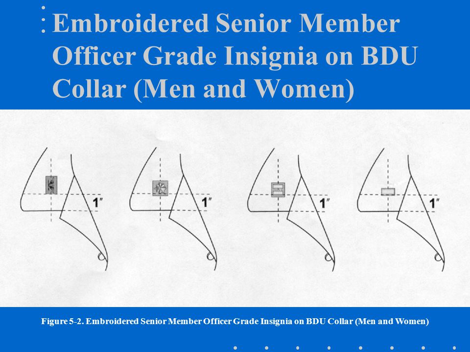 Embroidered Senior Member Officer Grade Insignia on BDU Collar (Men and Women) Figure 5-2. Embroidered Senior Member Officer Grade Insignia on BDU Col