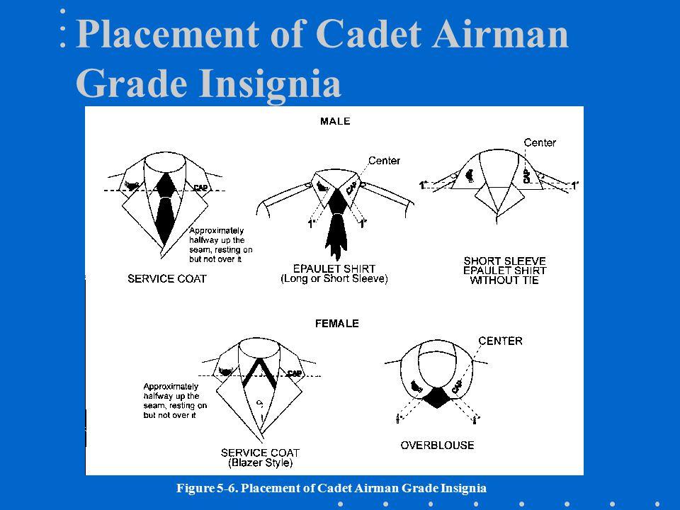 Figure 5-6. Placement of Cadet Airman Grade Insignia Placement of Cadet Airman Grade Insignia