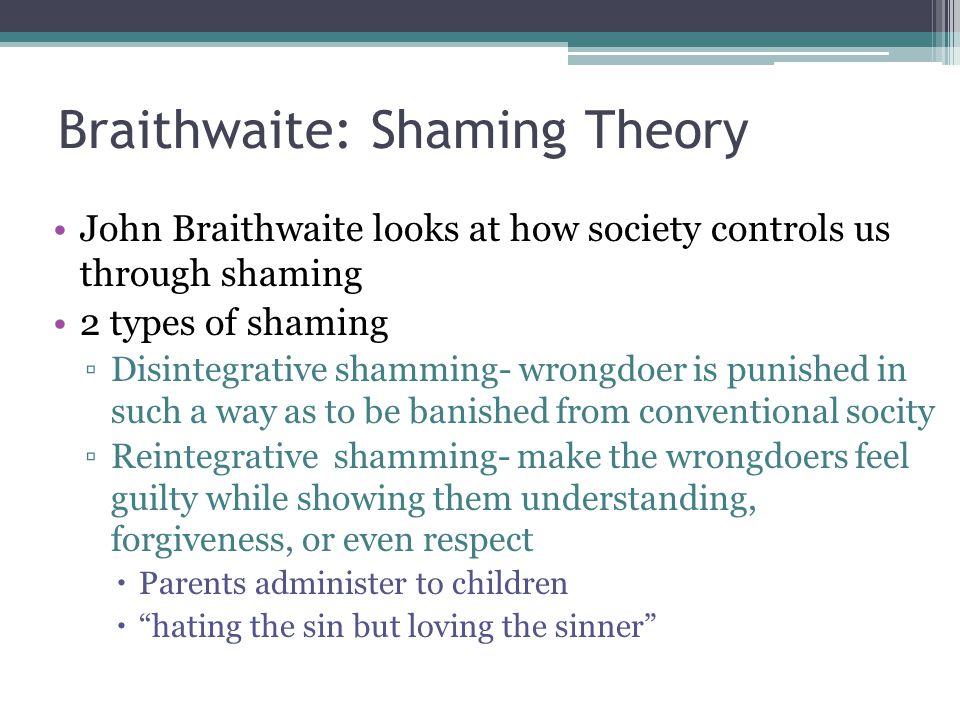 Braithwaite: Shaming Theory John Braithwaite looks at how society controls us through shaming 2 types of shaming ▫Disintegrative shamming- wrongdoer i