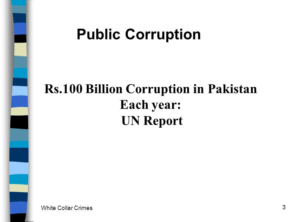 White Collar Crimes 3 Public Corruption Rs.100 Billion Corruption in Pakistan Each year: UN Report