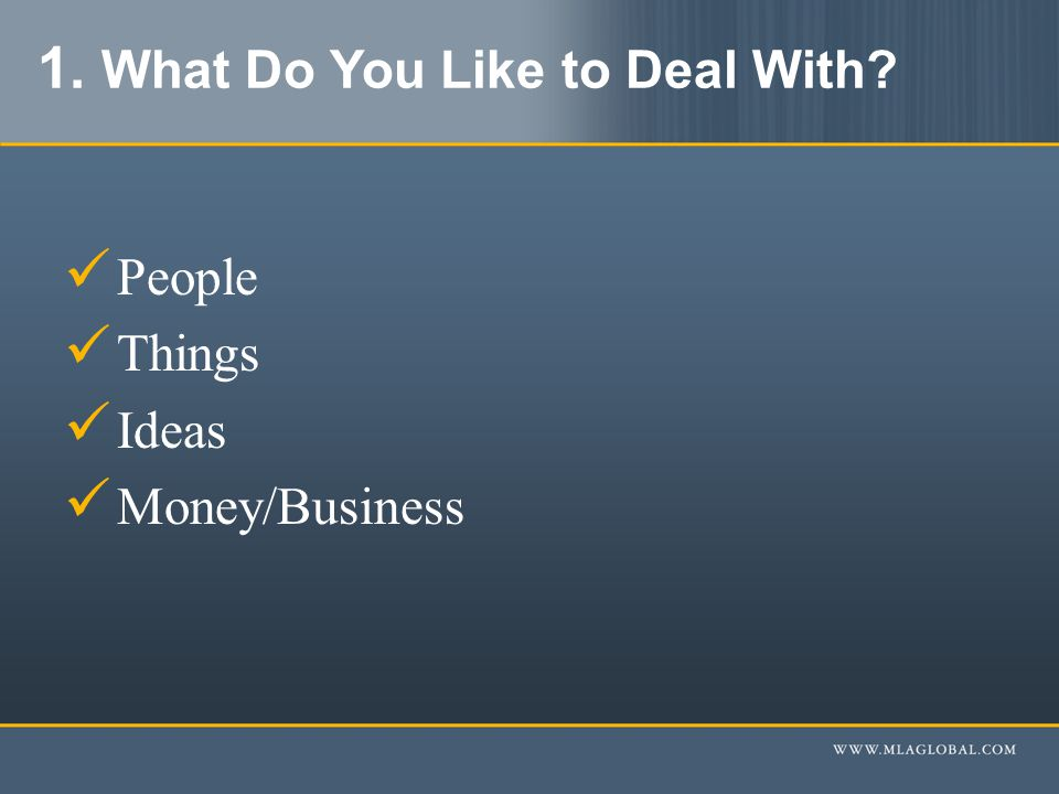 1. What Do You Like to Deal With People Things Ideas Money/Business