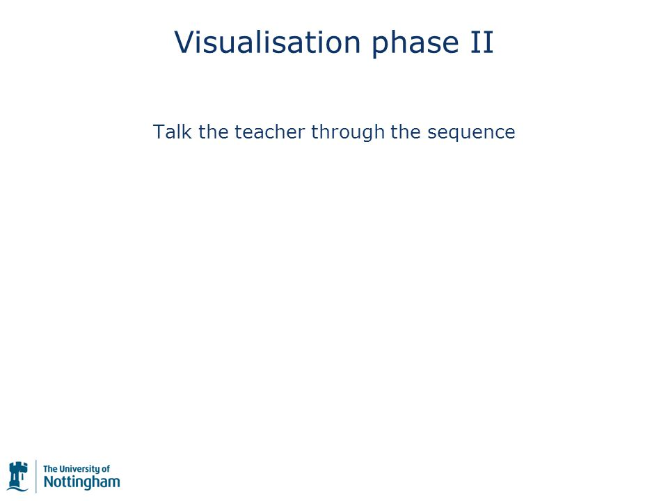 Visualisation phase II Talk the teacher through the sequence
