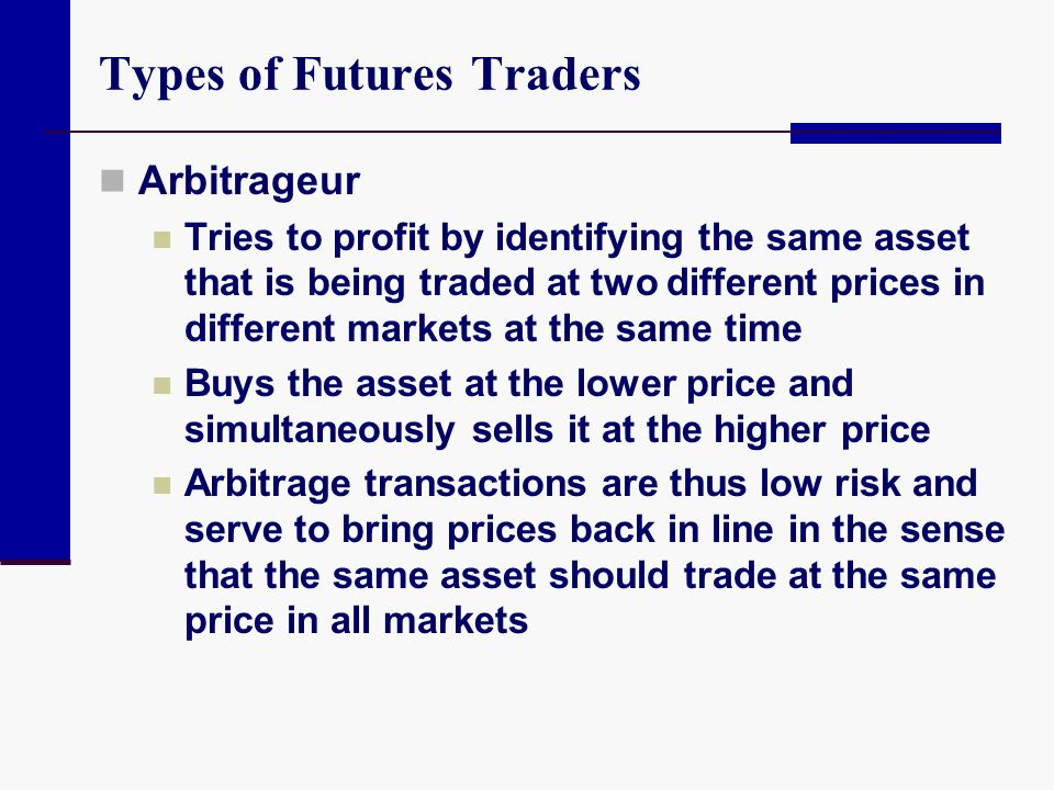 Types of Futures Traders Arbitrageur Tries to profit by identifying the same asset that is being traded at two different prices in different markets a