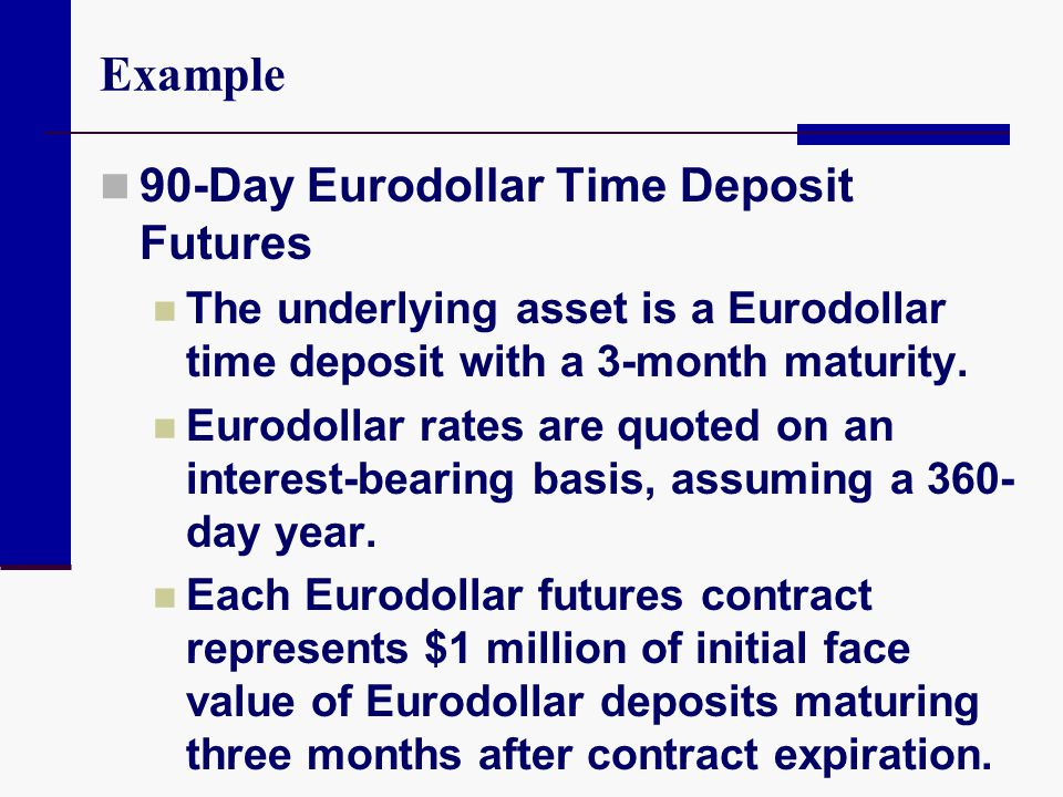 Example 90-Day Eurodollar Time Deposit Futures The underlying asset is a Eurodollar time deposit with a 3-month maturity. Eurodollar rates are quoted