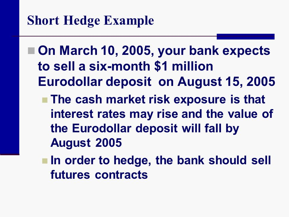 Short Hedge Example On March 10, 2005, your bank expects to sell a six-month $1 million Eurodollar deposit on August 15, 2005 The cash market risk exp