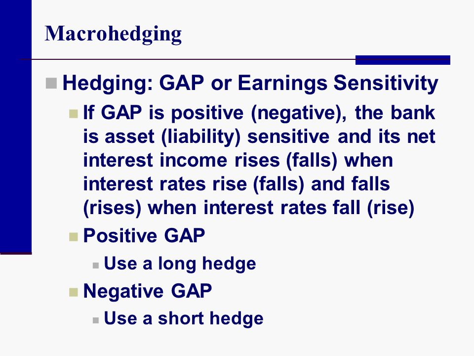 Macrohedging Hedging: GAP or Earnings Sensitivity If GAP is positive (negative), the bank is asset (liability) sensitive and its net interest income r