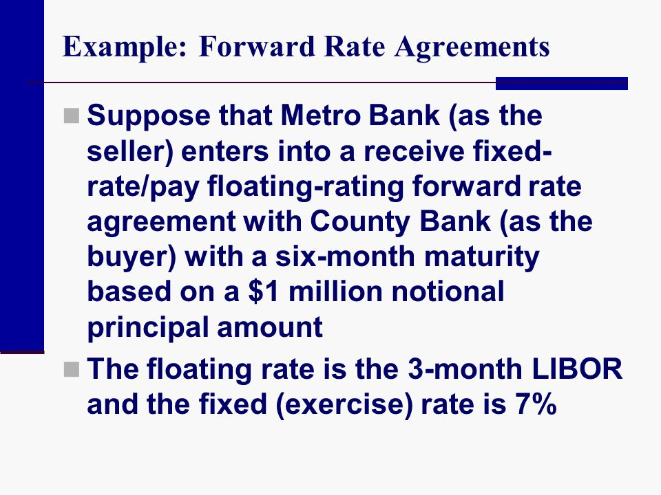 Example: Forward Rate Agreements Suppose that Metro Bank (as the seller) enters into a receive fixed- rate/pay floating-rating forward rate agreement