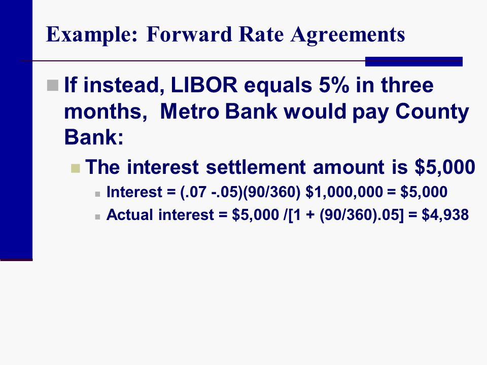 Example: Forward Rate Agreements If instead, LIBOR equals 5% in three months, Metro Bank would pay County Bank: The interest settlement amount is $5,0