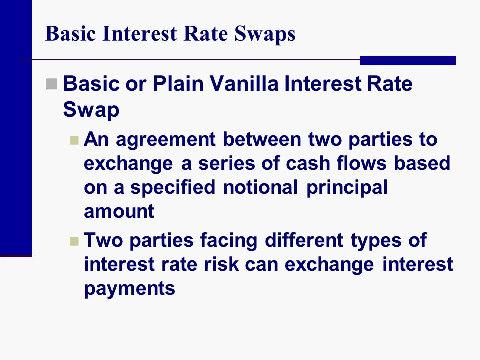 Basic Interest Rate Swaps Basic or Plain Vanilla Interest Rate Swap An agreement between two parties to exchange a series of cash flows based on a spe