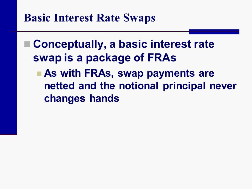 Basic Interest Rate Swaps Conceptually, a basic interest rate swap is a package of FRAs As with FRAs, swap payments are netted and the notional princi