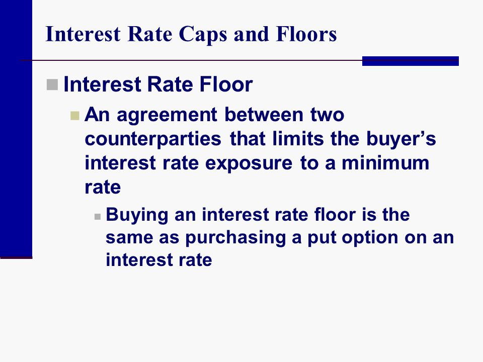 Interest Rate Caps and Floors Interest Rate Floor An agreement between two counterparties that limits the buyer's interest rate exposure to a minimum