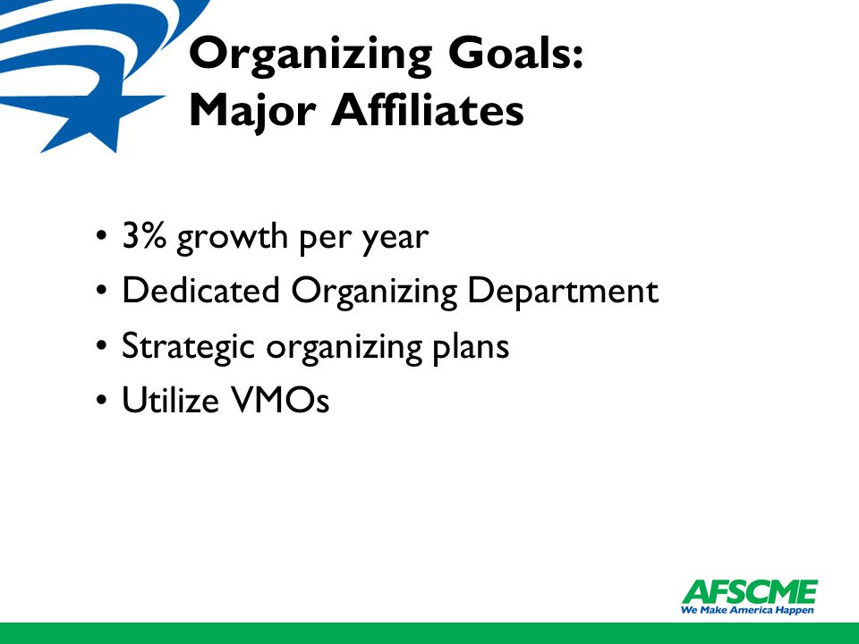 Organizing Goals: Major Affiliates 3% growth per year Dedicated Organizing Department Strategic organizing plans Utilize VMOs