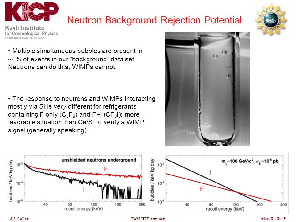 "Mar. 21, 2005 J.I. CollarUoM HEP seminar Neutron Background Rejection Potential Multiple simultaneous bubbles are present in ~4% of events in our ""bac"