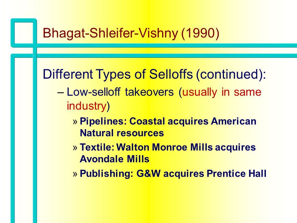 Bhagat-Shleifer-Vishny (1990) Mean Acquisition Price Realized through Selloffs – –LBOs vs.