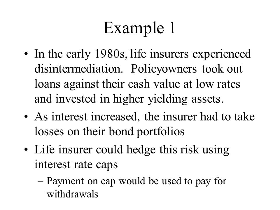 Example 1 In the early 1980s, life insurers experienced disintermediation. Policyowners took out loans against their cash value at low rates and inves