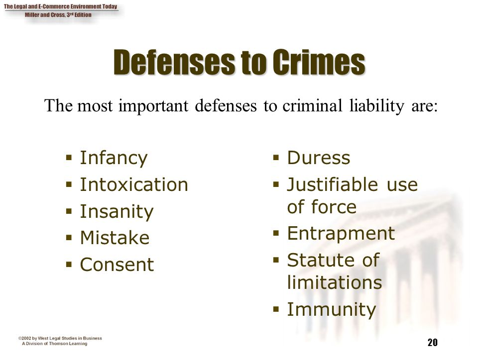 20 Defenses to Crimes  Infancy  Intoxication  Insanity  Mistake  Consent  Duress  Justifiable use of force  Entrapment  Statute of limitation