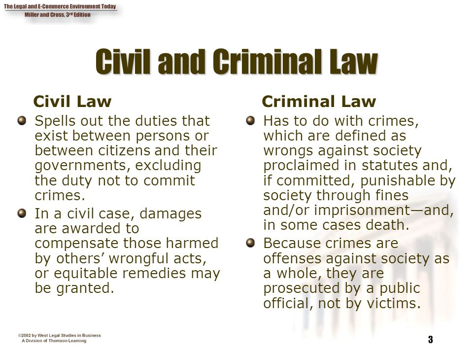 3 Civil and Criminal Law Civil Law Spells out the duties that exist between persons or between citizens and their governments, excluding the duty not