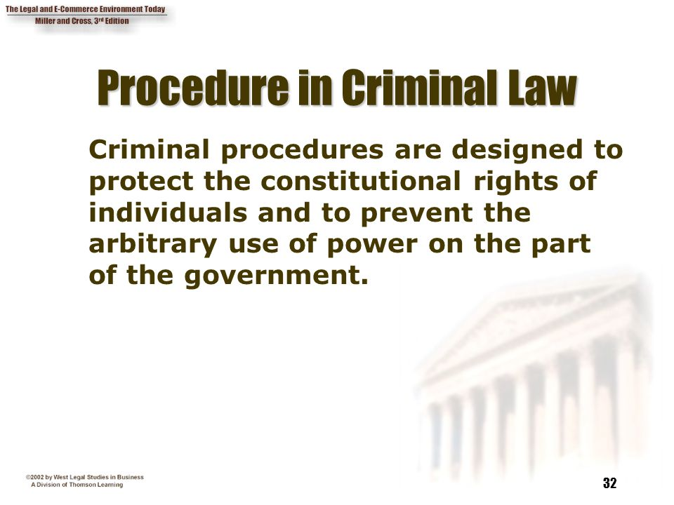 32 Procedure in Criminal Law Criminal procedures are designed to protect the constitutional rights of individuals and to prevent the arbitrary use of