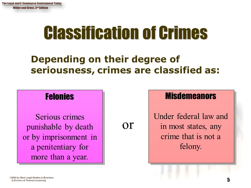 5 Classification of Crimes Depending on their degree of seriousness, crimes are classified as: Felonies Serious crimes punishable by death or by impri