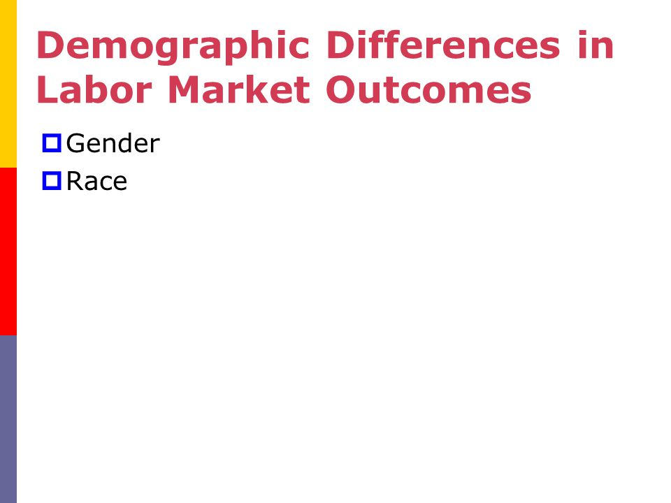  Gender  Race Demographic Differences in Labor Market Outcomes