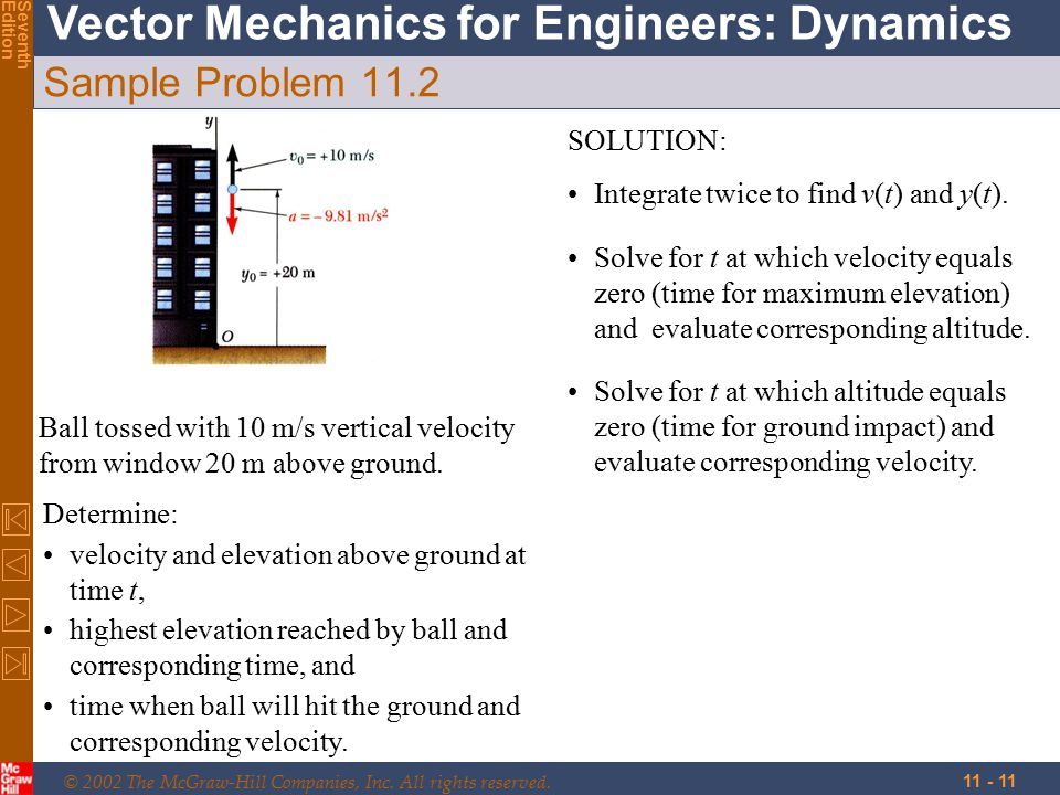 © 2002 The McGraw-Hill Companies, Inc. All rights reserved. Vector Mechanics for Engineers: Dynamics SeventhEdition 11 - 11 Sample Problem 11.2 Determ