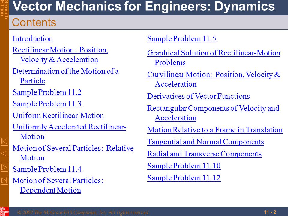 © 2002 The McGraw-Hill Companies, Inc. All rights reserved. Vector Mechanics for Engineers: Dynamics SeventhEdition 11 - 2 Contents Introduction Recti