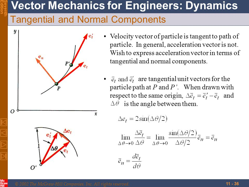 © 2002 The McGraw-Hill Companies, Inc. All rights reserved. Vector Mechanics for Engineers: Dynamics SeventhEdition 11 - 36 Tangential and Normal Comp