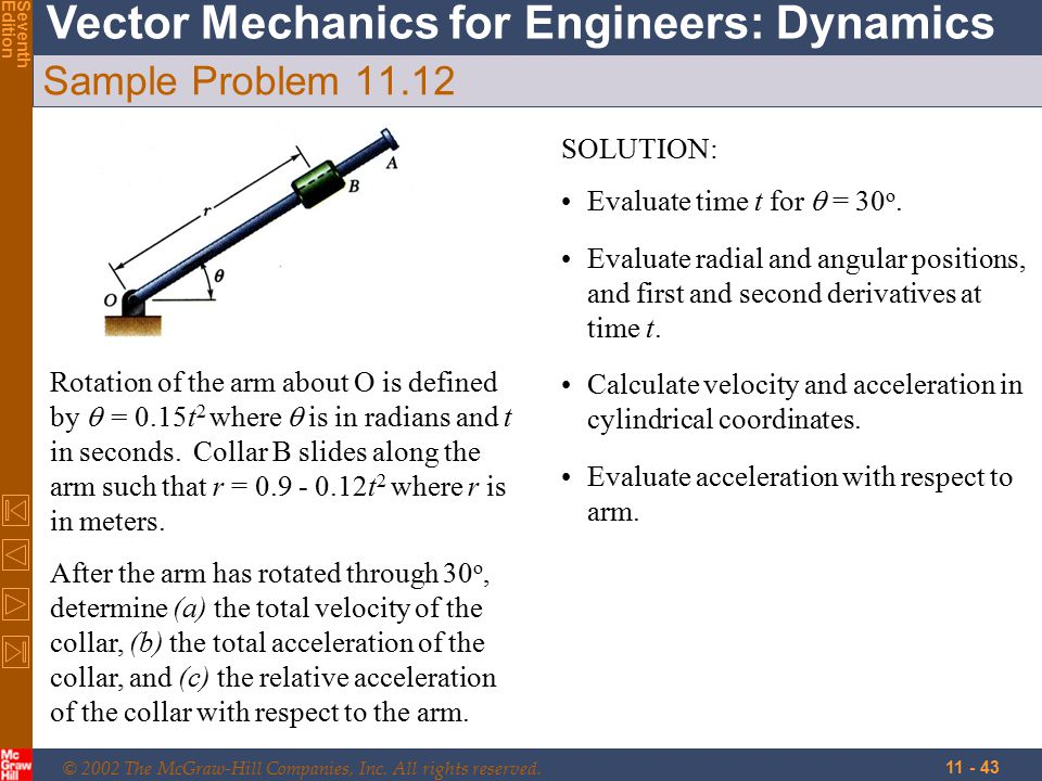 © 2002 The McGraw-Hill Companies, Inc. All rights reserved. Vector Mechanics for Engineers: Dynamics SeventhEdition 11 - 43 Sample Problem 11.12 Rotat