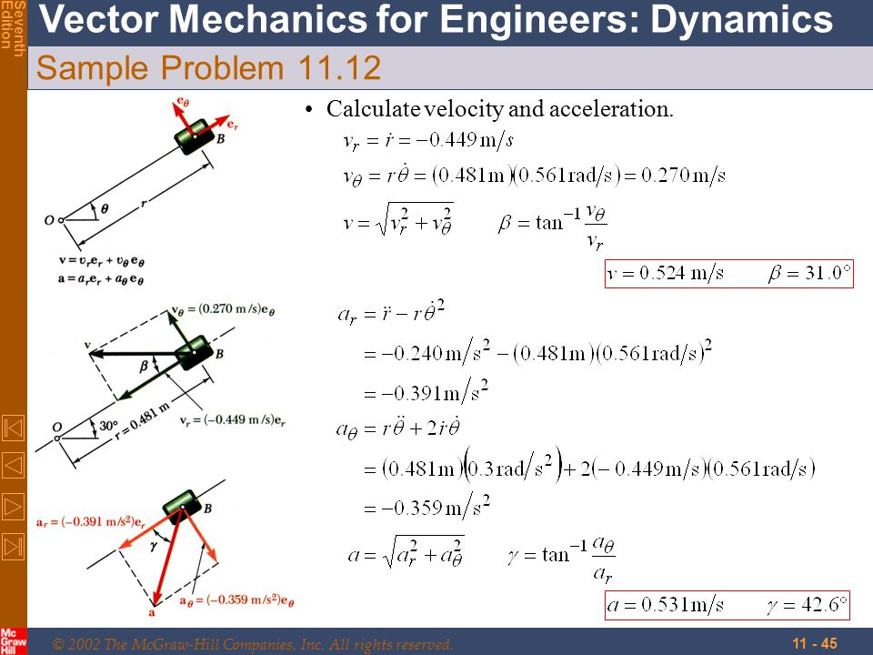 © 2002 The McGraw-Hill Companies, Inc. All rights reserved. Vector Mechanics for Engineers: Dynamics SeventhEdition 11 - 45 Sample Problem 11.12 Calcu