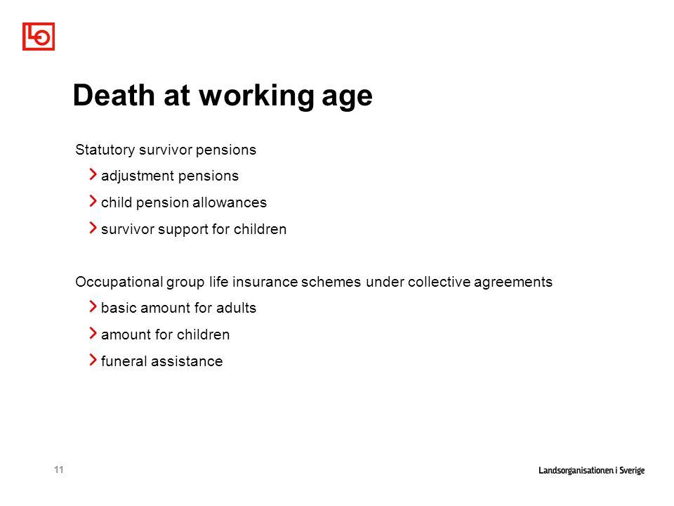 11 Death at working age Statutory survivor pensions adjustment pensions child pension allowances survivor support for children Occupational group life