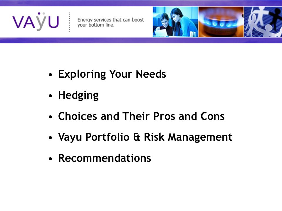 Understanding today's rapidly evolving energy market Exploring Your Needs Hedging Choices and Their Pros and Cons Vayu Portfolio & Risk Management Recommendations