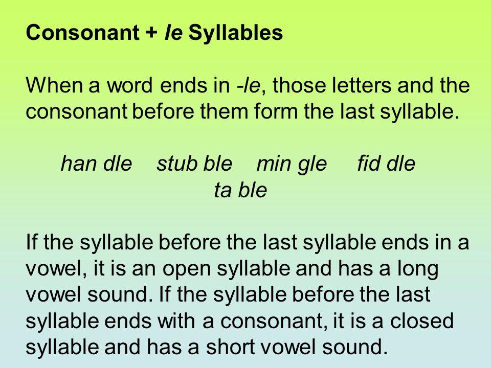 Read each consonant + le word below.