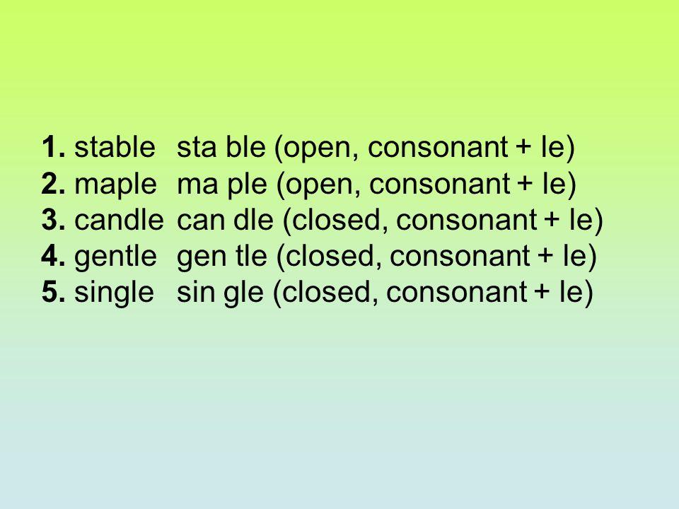 1. stable sta ble (open, consonant + le) 2. maple ma ple (open, consonant + le) 3. candlecan dle (closed, consonant + le) 4. gentlegen tle (closed, co
