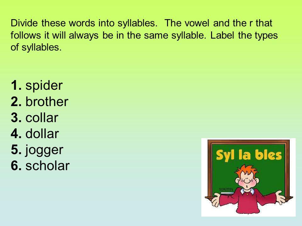1.spiderspi der(open, vowel-r) 2. brotherbroth er(closed, vowel-r) 3.