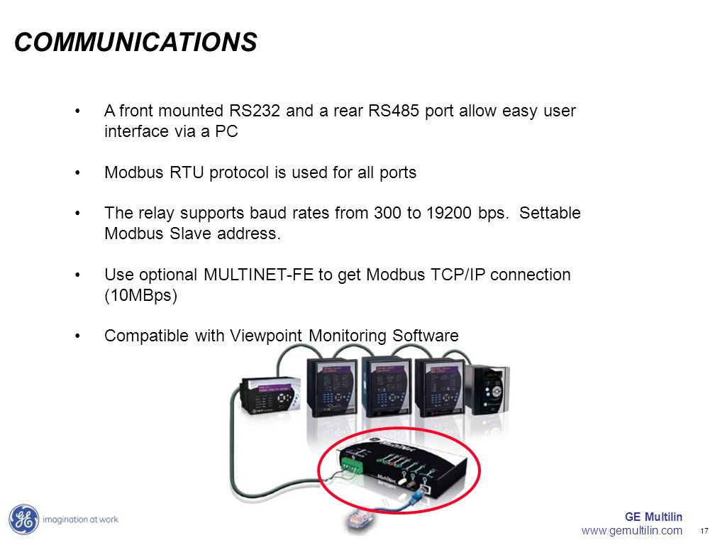 GE Multilin www.gemultilin.com 17 A front mounted RS232 and a rear RS485 port allow easy user interface via a PC Modbus RTU protocol is used for all p
