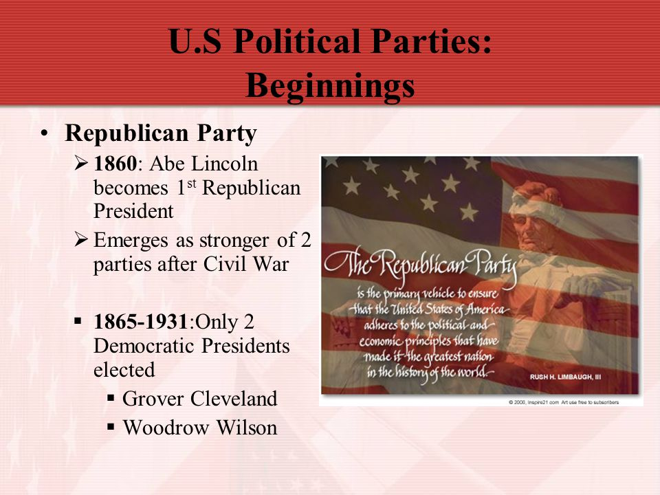 U.S Political Parties: Beginnings Republican Party  1860: Abe Lincoln becomes 1 st Republican President  Emerges as stronger of 2 parties after Civi
