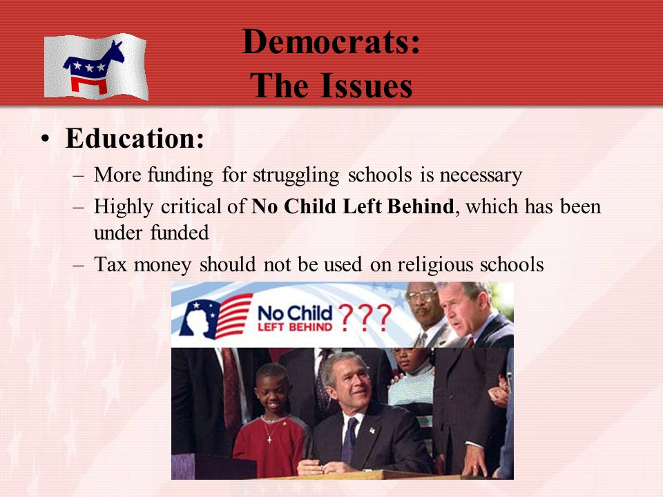 Democrats: The Issues Education: –More funding for struggling schools is necessary –Highly critical of No Child Left Behind, which has been under fund