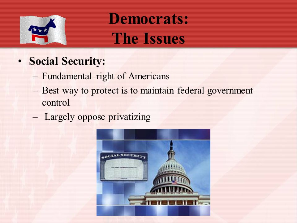 Democrats: The Issues Social Security: –Fundamental right of Americans –Best way to protect is to maintain federal government control – Largely oppose