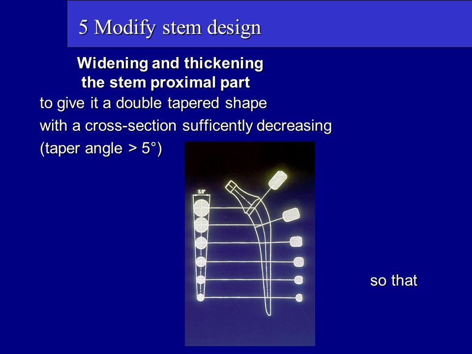 Widening and thickening the stem proximal part to give it a double tapered shape with a cross-section sufficently decreasing (taper angle > 5°) so tha
