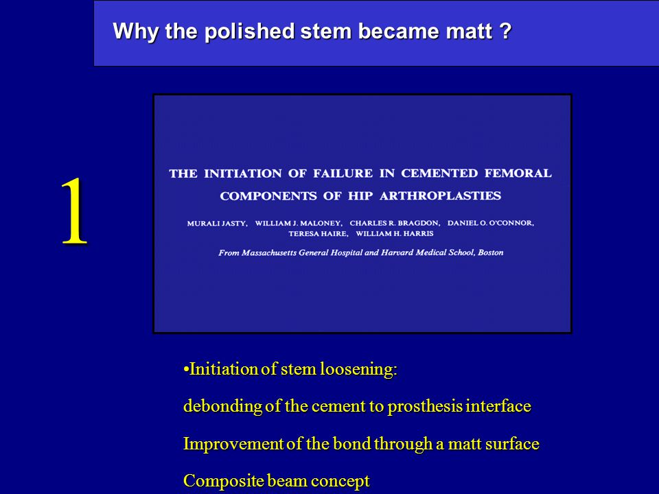 Why the polished stem became matt ? Initiation of stem loosening:Initiation of stem loosening: debonding of the cement to prosthesis interface Improve