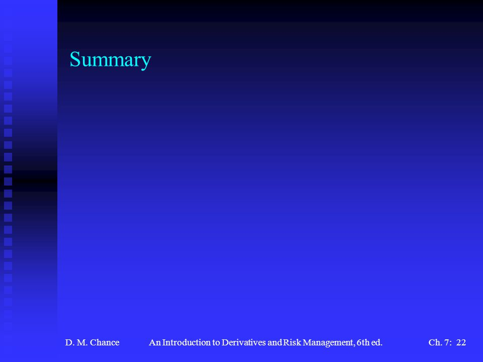 D. M. ChanceAn Introduction to Derivatives and Risk Management, 6th ed.Ch. 7: 22 Summary