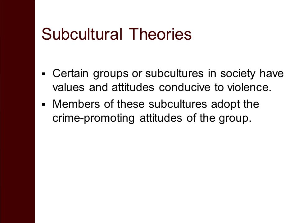 Subcultural Theories  Certain groups or subcultures in society have values and attitudes conducive to violence.  Members of these subcultures adopt