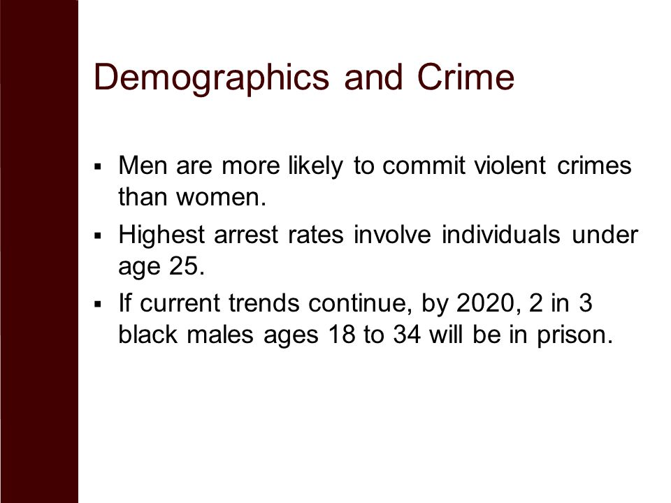 Demographics and Crime  Men are more likely to commit violent crimes than women.  Highest arrest rates involve individuals under age 25.  If curren