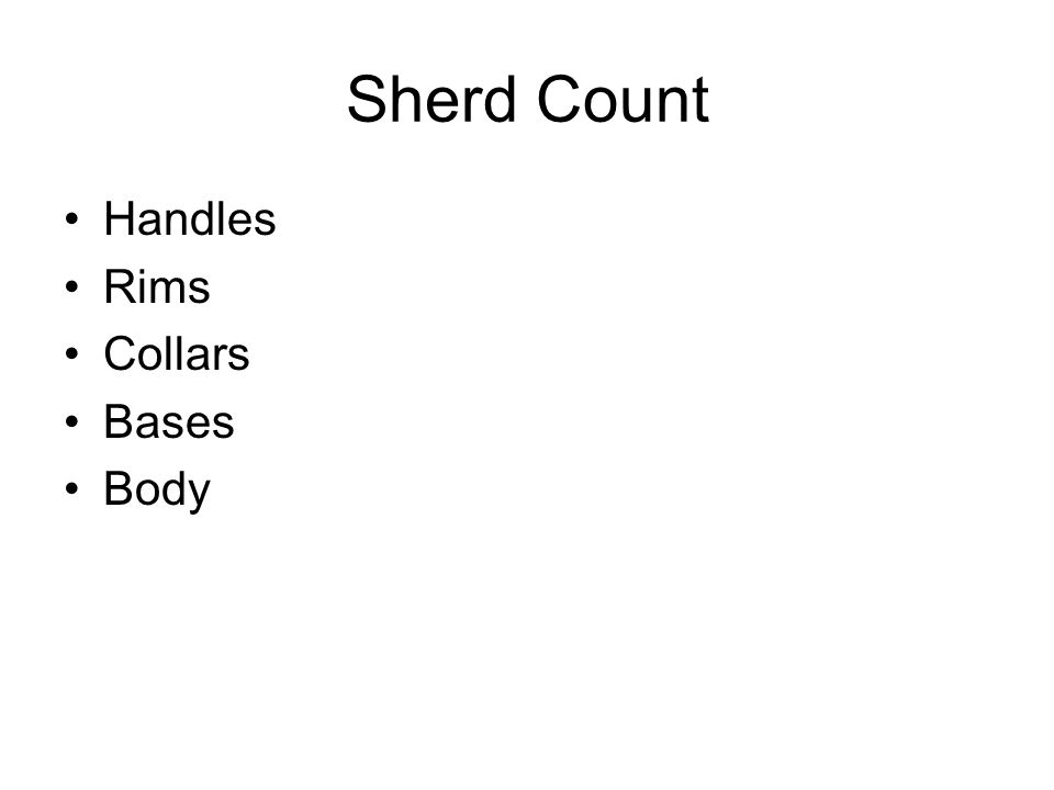 Sherd Count Handles Rims Collars Bases Body