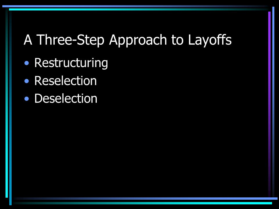 A Three-Step Approach to Layoffs Restructuring Reselection Deselection