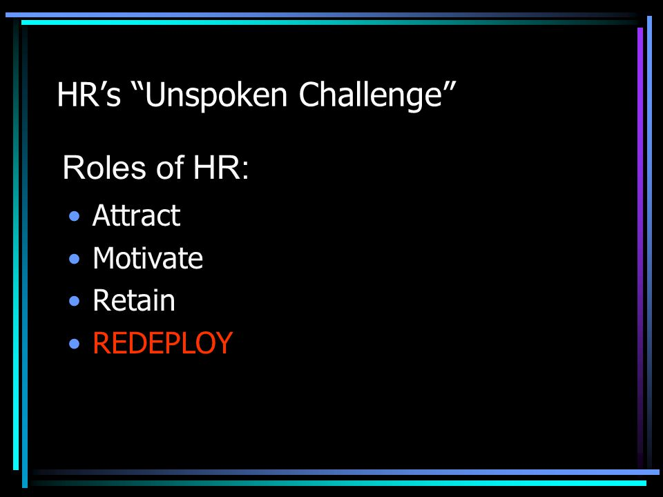 HR's Unspoken Challenge Attract Motivate Retain REDEPLOY Roles of HR: