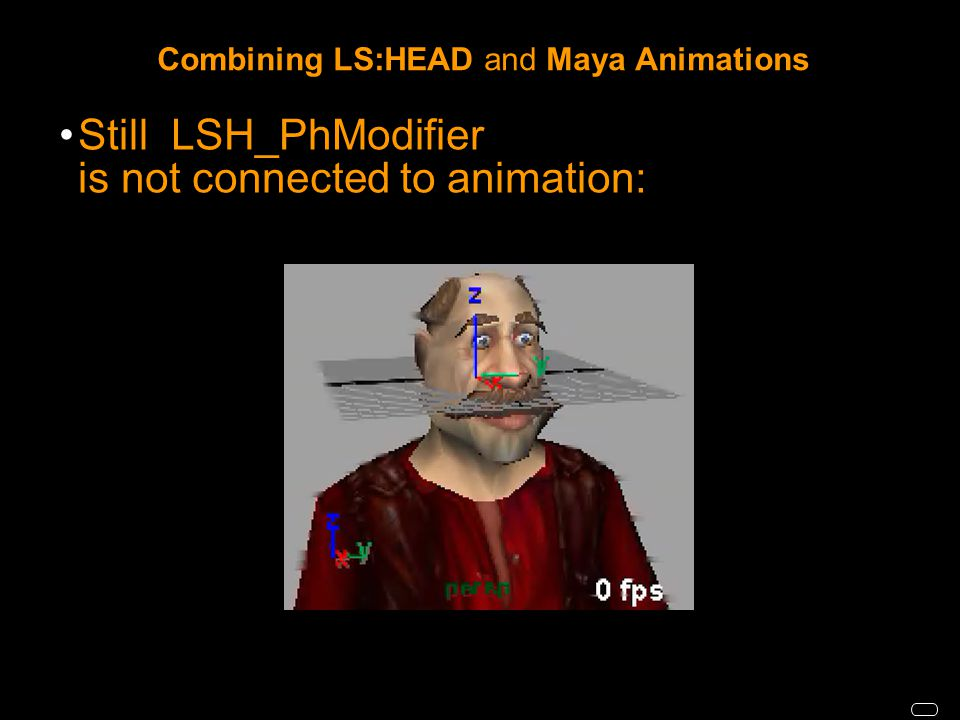 Combining LS:HEAD and Maya Animations Still LSH_PhModifier is not connected to animation: