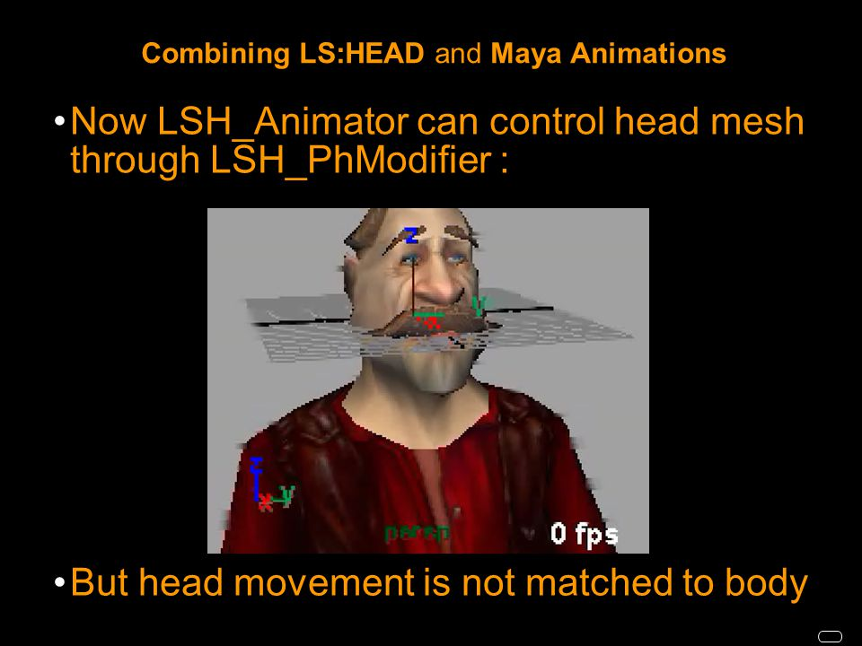 Combining LS:HEAD and Maya Animations Now LSH_Animator can control head mesh through LSH_PhModifier : But head movement is not matched to body