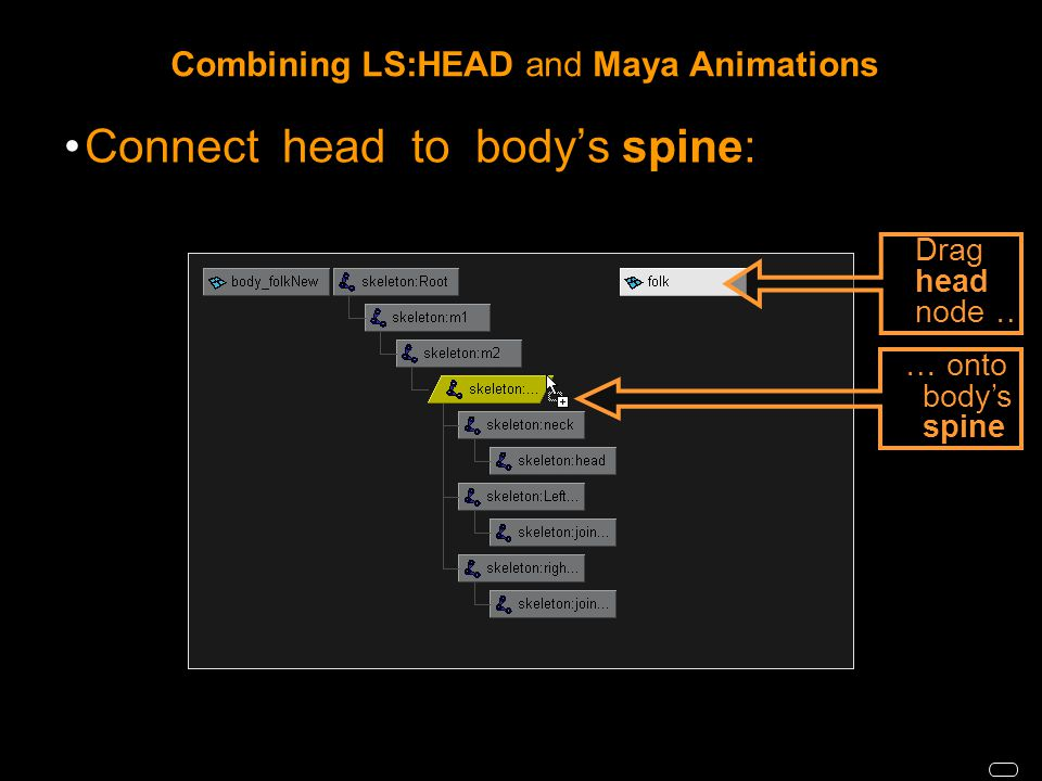 Combining LS:HEAD and Maya Animations Connect head to body's spine: … onto body's spine Drag head node …